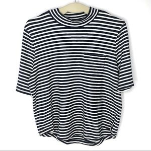 Madewell White Striped Mock Neck Pullover T- Shirt